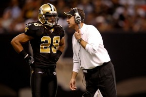 New Orleans Saints defensive backs coach Dennis Allen talks with safety Usama Young (28) during the second half against the Seattle Seahawks at the Louisiana Superdome. The Saints defeated the Seahawks 34-19. (Photo: Derick E. Hingle)