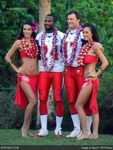02/08/2008 - Champ Bailey and John Lynch - 2007 Pro Bowl - AFC Photo Day - J. W. Marriott Ihilani Resort and Spa at Ko Olina - Kapolei, HI, USA - Keywords: Denver Broncos cornerback Champ Bailey (24), left, and safety John Lynch (47) pose with hula dancers Kelsey Campbell, left, and Aureuna Tseu - False -  - Photo Credit: Image of Sport / PR Photos - Contact (1-866-551-7827)