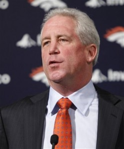 John Fox speaks at a news conference where he is introduced as the newest head coach of the Denver Broncos. (AP Photo/ Ed Andrieski)