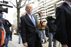 Pat Bowlen arrives for labor talks at the Federal Mediation and Conciliation Service building  March 11, 2011. (Photo by Jonathan Ernst/Getty Images)