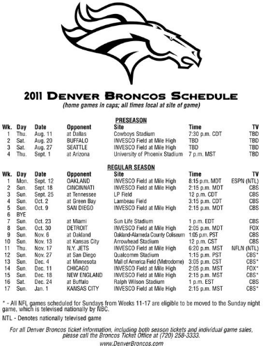 Gorgeous image with denver broncos printable schedule