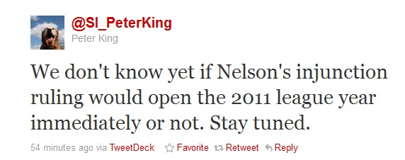 Peter King Lockout Tweet