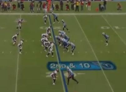 In this screenshot from the Broncos and Titans game last season, Denver's defense is seen in a 5-2 front with Dawkins coming up to cover the slot.