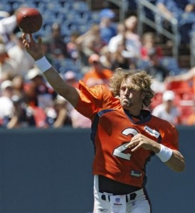 Denver Broncos rookie quarterback Adam Weber will run the scout team as the Broncos' practice squad quarterback. (AP Photo/Ed Andrieski)