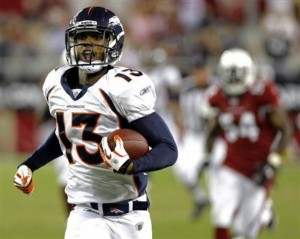 Wide receiver Eron Riley hauled in two touchdown passes in the 2011 preseason, including this touchdown catch-and-run against the Arizona Cardinals Thursday, Sept. 1, 2011, in Glendale, Ariz., but did not make the team's final roster Saturday.  (AP Photo/Rick Scuteri)