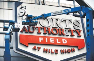 Sports Authority Field at Mile High sign