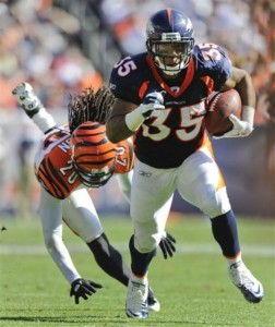 With starting running back Willis McGahee out, third year backs Knowshon Moreno and Lance Ball (pictured) could see a lot more carries.  (AP Photo/Jack Dempsey)