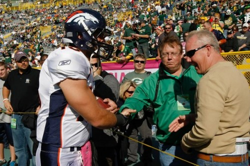 Tim Tebow with Packers fans
