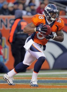 Demaryius Thomas #88 of the Denver Broncos receives a kick off against the Kansas City Chiefs at INVESCO Field at Mile High on November 14, 2010 in Denver, Colorado. The Broncos defeated the Chiefs 49-29.  (Photo by Doug Pensinger/Getty Images)