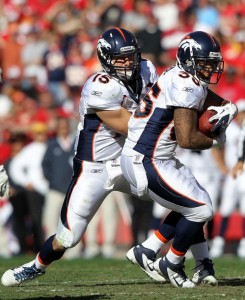 Quarterback Tim Tebow #15 of the Denver Broncos hands off to Lance Ball during the game against the Kansas City Chiefs on November 13, 2011 at Arrowhead Stadium in Kansas City, Missouri.  (Photo by Jamie Squire/Getty Ima