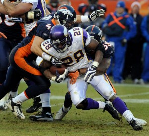 Vikings running back Adrian Peterson may not be able to play on Sunday.  (Photo by Steve Dykes/Getty Images)