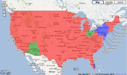 Red = Broncos vs. Pats
