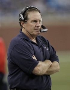 New England Patriots head coach Bill Belichick watches during an NFL preseason football game against the Detroit Lions in Detroit, Saturday, Aug. 27, 2011. (AP Photo/Paul Sancya)