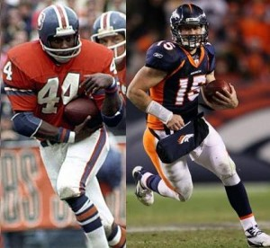 Back in the day, a combination of Floyd Little and Tim Tebow may have taken the Broncos to several Super Bowls.  (Images courtesy of Getty)