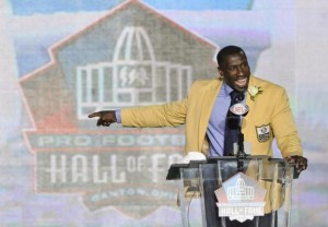 Shannon Sharpe delivers his induction speech during the Pro Football Hall of Fame Enshrinement Ceremonies at Fawcett Stadium in Canton, Ohio, on August 6, 2011. UPI / David Richard  Read more: http://www.upi.com/News_Photos/Sports/2011-Pro-Football-Hall-of-Fame-Enshrinement/5509/8/#ixzz1l3l3Tskq