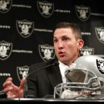 Raiders' new head coach Dennis Allen speaks during a news conference at the Raiders' training facility in Oakland, California January 30, 2012. (REUTERS photo/Beck Diefenbach)