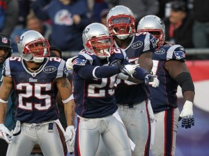 Sterling Moore #29 of the New England Patriots celebrates his touchdown, which followed his interception, against the Buffalo Bills in the second half at Gillette Stadium on January 1, 2012 in Foxboro, Massachusetts. (Jim Rogash/Getty Images)