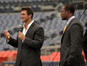 Broncos' Tim Tebow and Von Miller on Tuesday.  (Photo courtesy of John Leyba/The Denver Post)