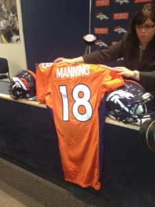 Peyton Manning No. 18 orange Broncos jersey