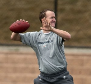 Peyton Manning working out in Denver on March 26, 2012