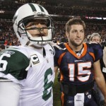 Mark Sanchez and Tim Tebow (AP Photo)
