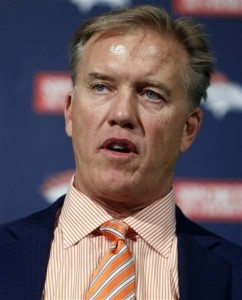 Denver Broncos vice president John Elway talks about trading the team's first-round pick in the NFL football draft at the Denver Broncos headquarters in Englewood, Colo., on April 26, 2012. The Broncos traded the 25th pick to New England for their 31st pick. They then traded that pick to Tampa Bay. (AP Photo/Ed Andrieski)