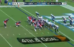 Here's a look at a traditional I-Formation, one of the most common formations for goal-line runs.  The I and Broken-I are Denver's most popular two-back formations.
