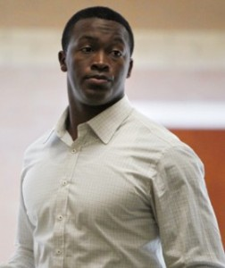 Denver Broncos wide receiver Demaryius Thomas is shown at the courthouse in Castle Rock on Feb. 29, 2012