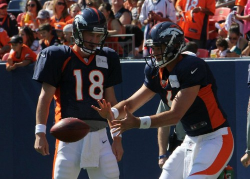 Brock Osweiler and Peyton Manning Broncos stadium