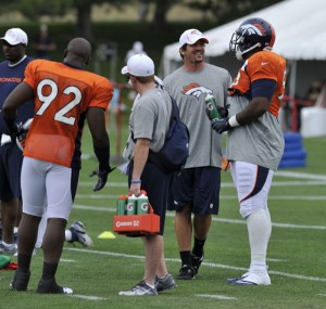 Keith Brooking at Broncos practice