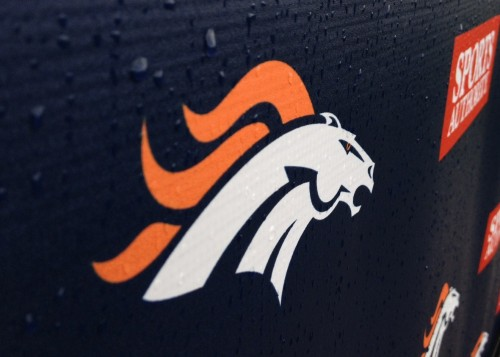 Broncos logo in the rain