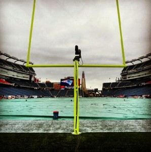 The rain drizzled all morning and into the afternoon before the Denver Broncos received the kickoff from the New England Patriots (Image courtesy of DenverBroncos.com)