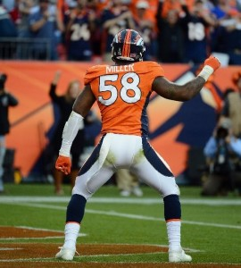 Von Miller celebrates a touchdown in early December when the Broncos faced the Tampa By Buccaneers. (Photo by Garrett W. Ellwood/Getty Images)