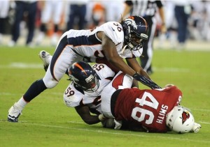 Denver young guns Nate Irving and Danny Trevathan will have a bigger role in 2013. (Photo by Norm Hall/Getty Images)